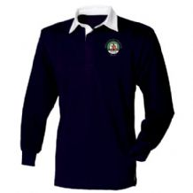 Irish Camping & Caravan Club Front Row Long Sleeve Plain Rugby Shirt Navy/White Adults 2019